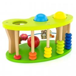 kolorowa zabawka drewniana z liczydłem i młoteczkiem