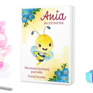 pudełko z nadrukiem dedykacji i personalizacją na sztućce dla dzieci z grawerem na prezent dla dziewczynki - Pszczółka