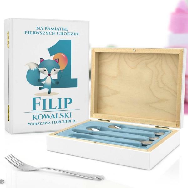 pudełko z nadrukiem i sztućce dla dzieci z grawerem na prezent dla chłopczyka - Lisek i Balonik