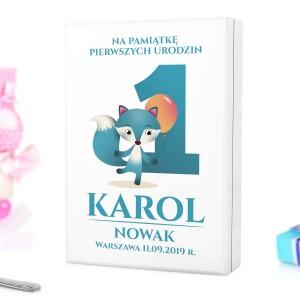 kaseta z nadrukiem personalizacji na sztućce dla dzieci z grawerem na prezent na roczek dla chłopczyka - Lisek i Balonik