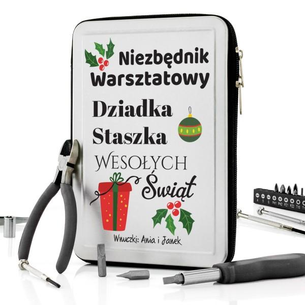 personalizowany zestaw narzędzi z życzeniami na prezent dla dziadka
