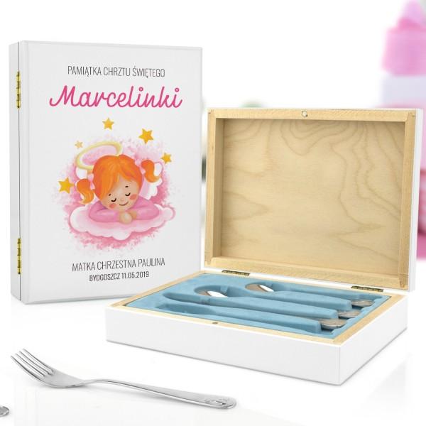 kaseta z nadrukiem i sztućce dla dzieci na pamiątkę chrztu dla dziewczynki
