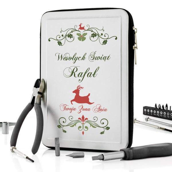 zestaw narzędziw  etui z personalizowanym nadrukiem na prezent na święta