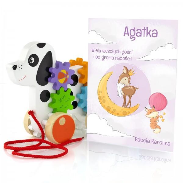 zabawka drewniana do ciągnięcia + personalizowana kartka dla dziewczynki