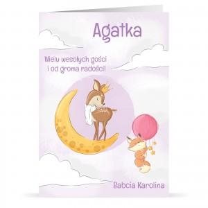 kartka urodzinowa dla dziewczynki z andrukiem życzeń i personalizacji