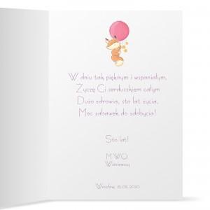 kartka urodzinowa z personalizacją na urodziny dla dziewczynki