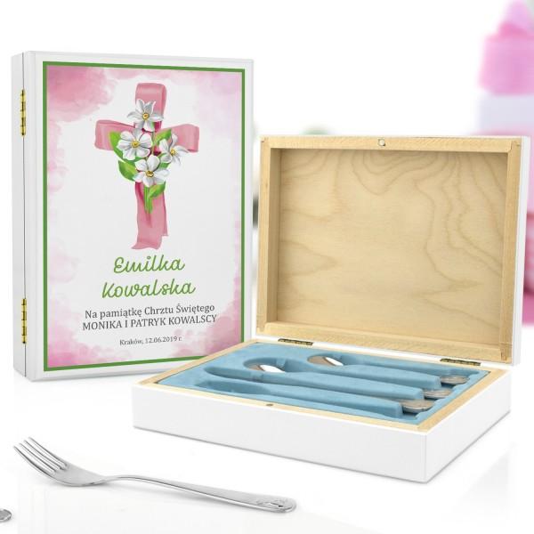 kaseta z nadrukiem i sztućce dla dzieci na pamiątkę chrztu dla dziewczynki - Różowy