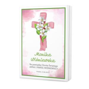 kaseta z nadrukiem dedykacji na sztućce dla dzieci na prezent z okazji chrztu dla dziewczynki - Różowy