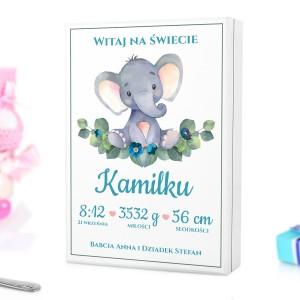 kaseta z kolorowym nadrukiem personalizacji na sztućce dla dzieci na prezent na chrzest dla chłopczyka - Witaj Mały