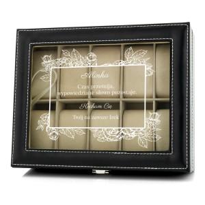 czarne etui na zegarki z przezroczystym wieczkiem i możliwością nadruku dedykacji dla kobiety