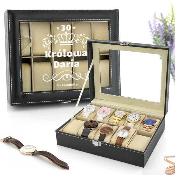szkatułka na 10 zegarków z przezroczystym wieczkiem i nadrukiem imienia oraz dedykacji