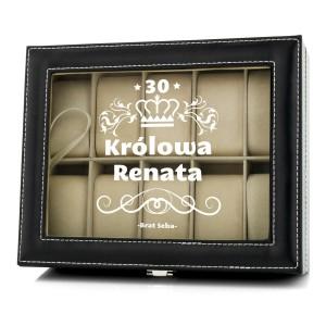 kuferek czarny na 10 zegarków z napisem królowa i możliwością nadruku imienia