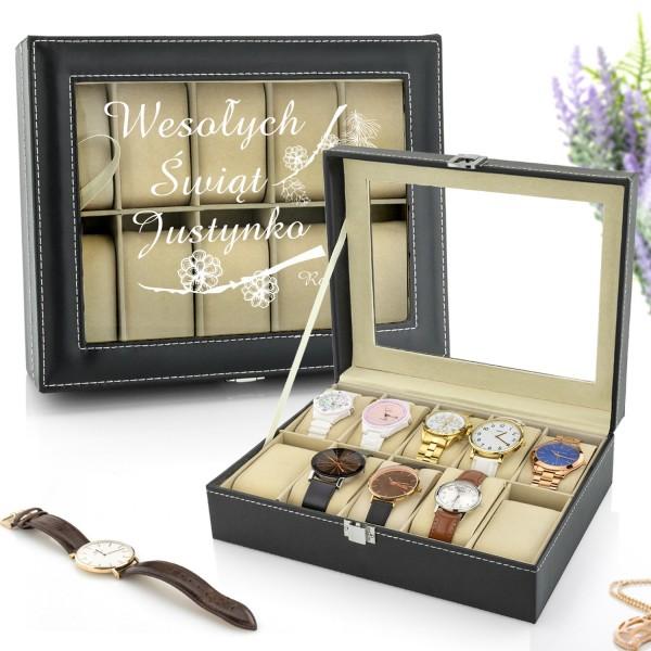 szkatułka na zegarki z nadrukiem wesołych świąt idealna na prezent świąteczny
