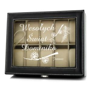 czarna kasetka na 10 zegarków z nadrukiem imienia i napisu Wesołych Świąt