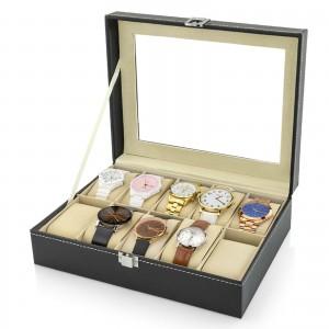 szkatułka na zegarki, z przezroczystym wieczkiem i możliwością wygrawerowania napisu na szybce