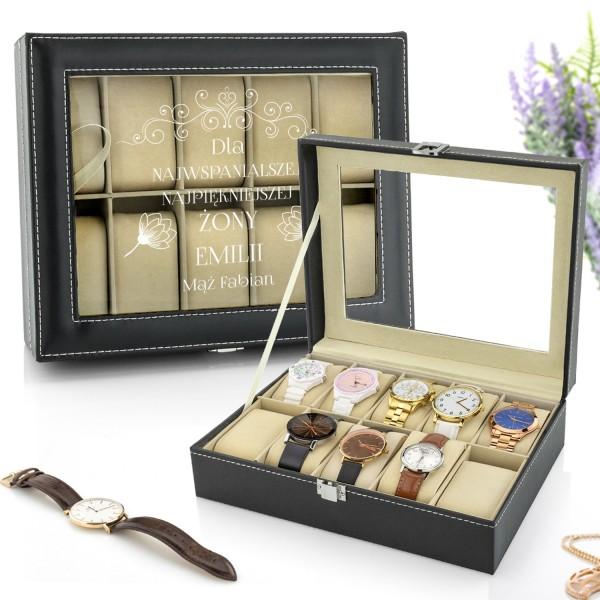 szkatułka z zegarkami na prezent dla żony