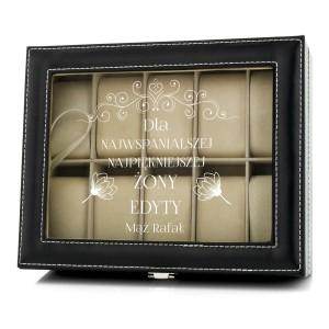 szkatułka z grawerem z dedykacją dla najwspanialszej żony do przechowywania zegarków