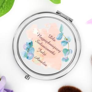 okrągłe lusterko kompaktowe z możliwościa nadruku życzeń