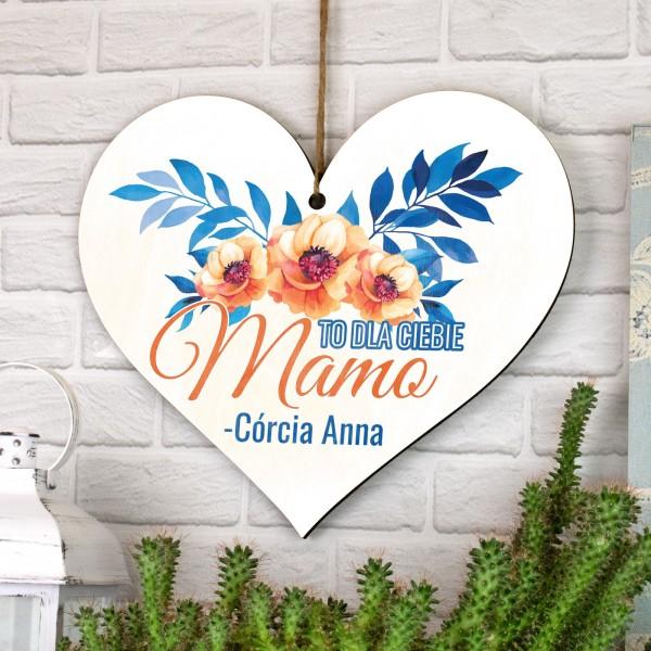 zawieszka w kształcie serca tabliczka z dedykacją dla ciebie mamo