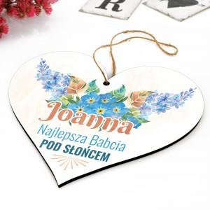tabliczka w kształcie serca z kolorowym nadrukiem dedykacji
