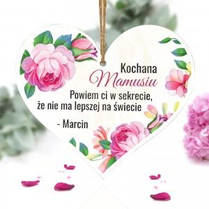 tabliczka w kształcie serca z napisem kochana mamusiu i z możliwością nadruku imienia