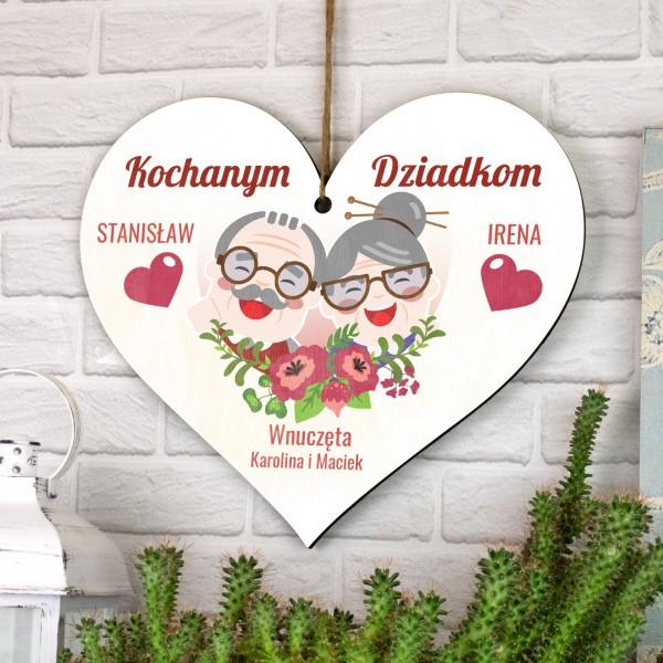 serce dla dziadków, tabliczka z napisem dedykacji kochanym dziadkom
