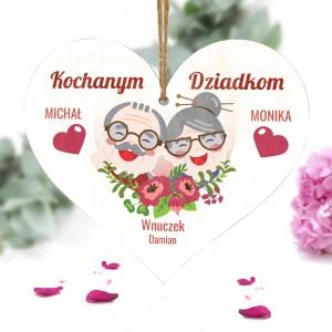 tabliczka w kształcie serca dla dziadków z dedykacją