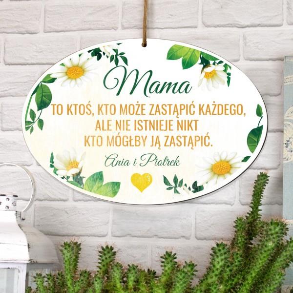 kolorowa tabliczka z nadrukiem dedykacji na prezent dla mamy