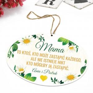tabliczka z kolorowym nadrukiem, dedykacją i zawieszką na prezent dla mamy
