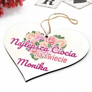 tabliczka serce z napisem najlepsza ciocia na świecie