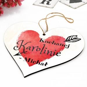 tabliczka do zawieszenia w kształcie serca z nadrukiem napisu kochanej dziewczynie