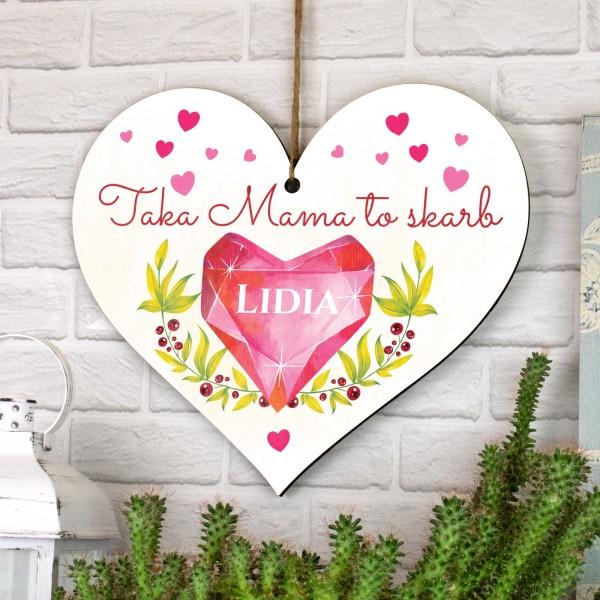 tabliczka serce z dedykacją na prezent dla mamy z napisem taka mama to skarb