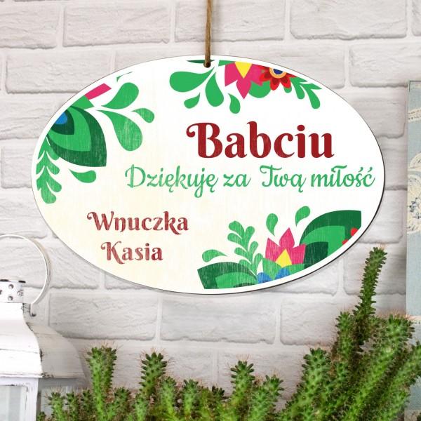 personalizowana tabliczka z dedykacją na prezent dla babci