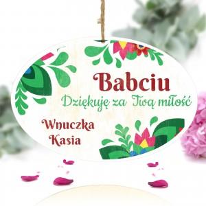 spersonalziowana tabliczka z kolorowym nadrukiem i dedykacją na prezent na dzień babci