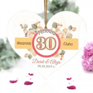 prezent na 30 rocznicę ślubu, serce do powieszenia z nadrukiem imion i daty
