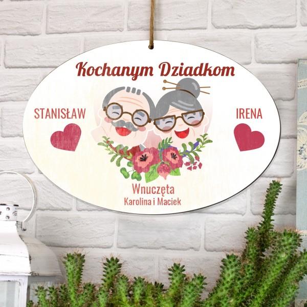 personalizowana tabliczka z dedykacją na prezent dla dziadków