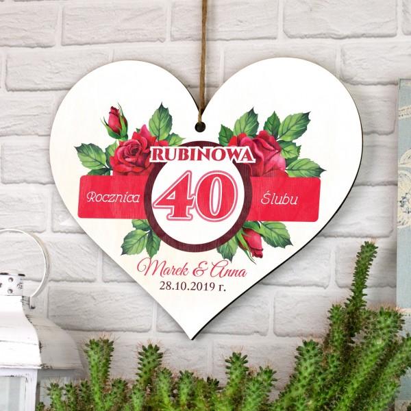 tabliczka ze sklejki na 40 rocznice ślubu