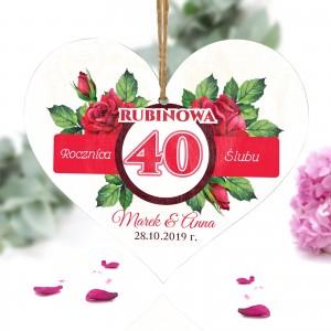 pamiatka na 40 rocznicę ślubu tabliczka w ksztalcie serca