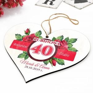 tabliczka serce jako prezent na 40 rocznicę ślubu - możliwość nadruku