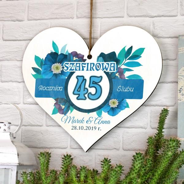 tabliczka serce sklejka jako pamiątka na 45 rocznicę ślubu