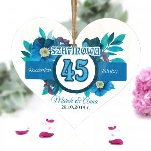 tabliczka serce z nadrukiem na 45 rocznicę ślubu