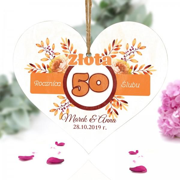 pamiatkowa zawieszka serce złote gody na 50 rocznicę ślubu