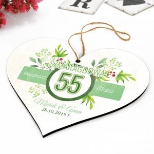 drewniane serce do zawieszenia na 55 rocznicę ślubu