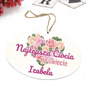tabliczka z kolorowym nadrukiem dedykacji i zawieszką na prezent dla cioci na urodziny