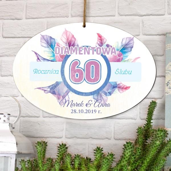 tabliczka z dedykacją na prezent na 60 rocznicę ślubu