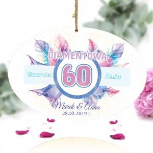tabliczka z nadrukiem kolorowej  dedykacji na prezent na 60 rocznicę ślubu dla rodziców