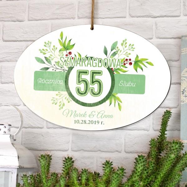 tabliczka z dedykacją na prezent na 55 rocznicę ślubu
