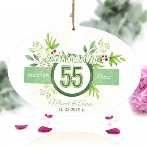 tabliczka z nadrukiem kolorowej dedykacji na prezent na 55 rocznicę ślubu dla rodziców