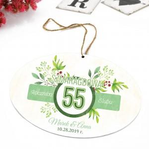 tabliczka z kolorową  dedykacją i zawieszką na prezent na 55 znajomych lub przyjaciółrocznicę ślubu