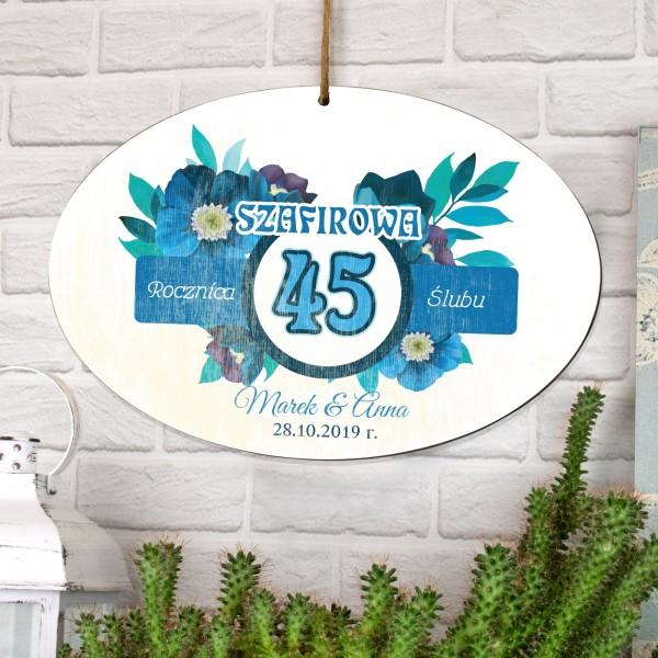 tabliczka z dedykacją na prezent na 45 rocznicę ślubu